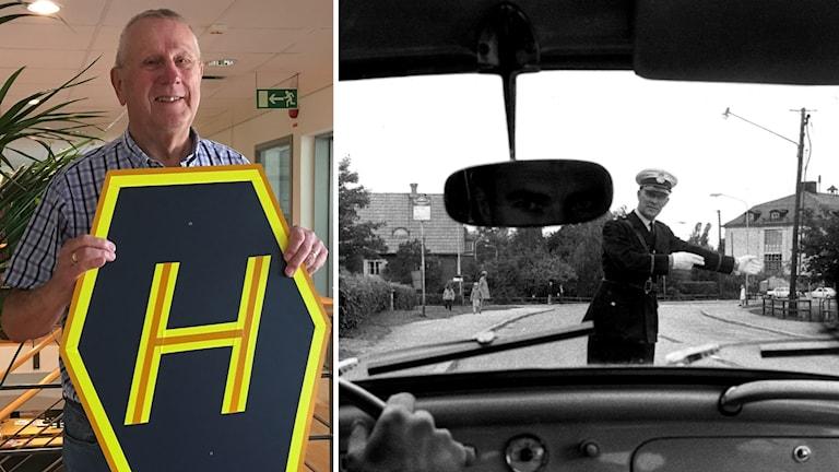 Bertil Svensson och bil sedd inifrån när den byter körfält.