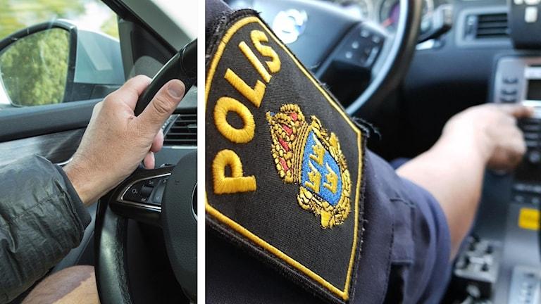 Bilförare och polis.
