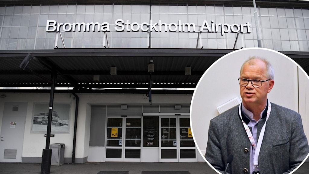 Utanför Bromma flygplats och Christer Jonsson (C).