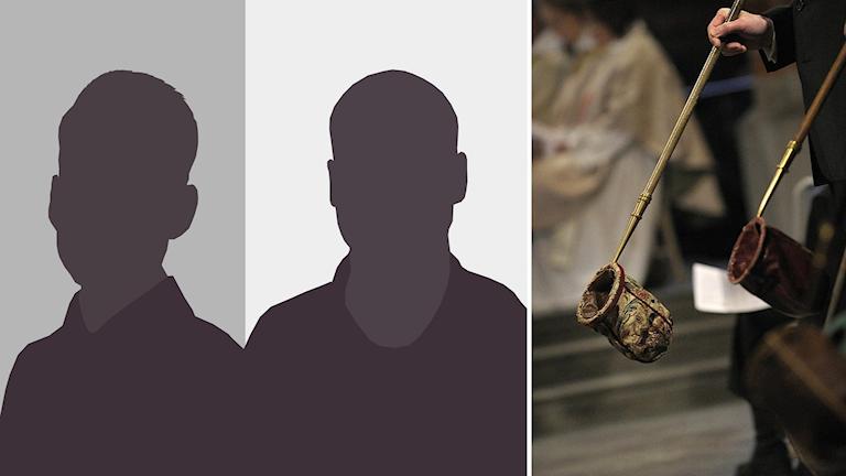 Siluetten av två män samt bild på en kollekt.
