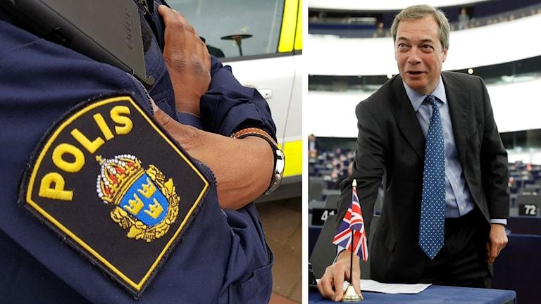 Kollage: Polis/Nigel Farage.