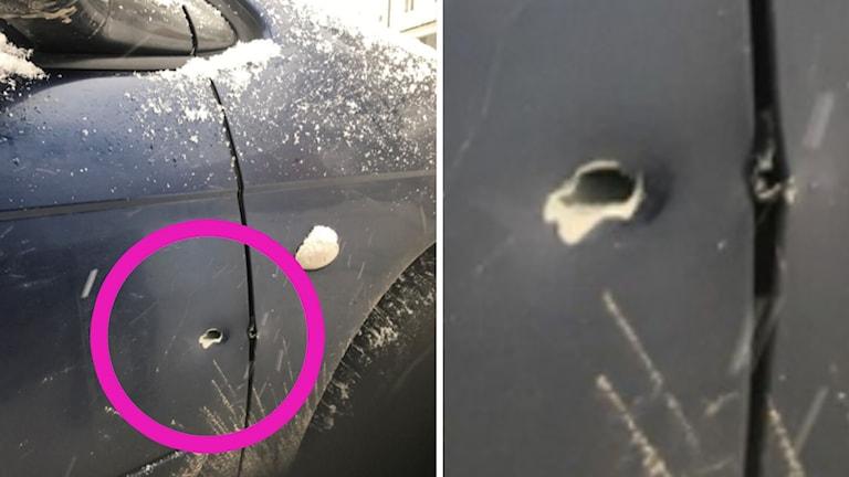 Skotthål i bildörr.