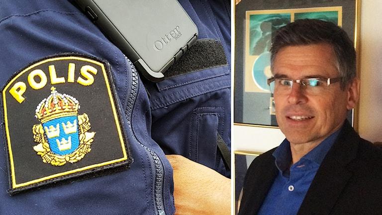 Ett polismärke och Lars Rosander