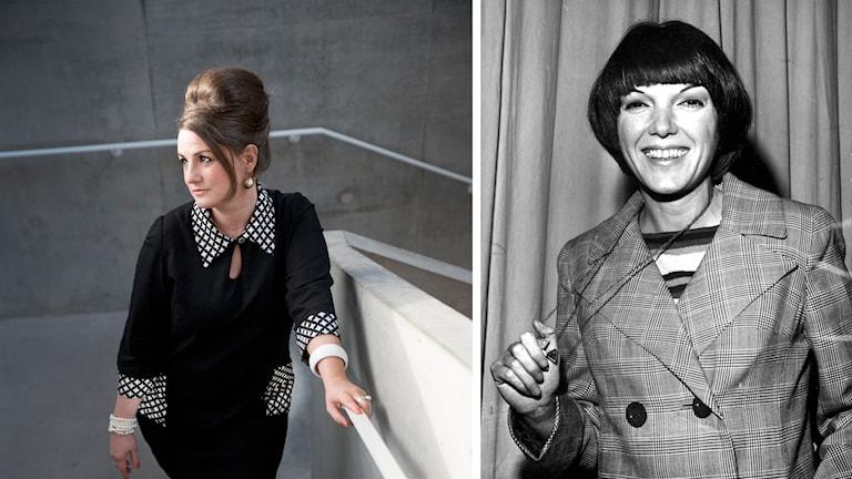 Till vänster en kvinna som poserar i en svart klänning, till höger en svartvit bild på Mary Quant tagen 1968.