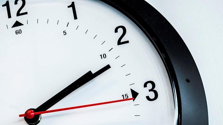 Klocka som visar elva minuter över två