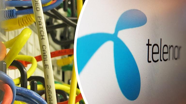 Telenors logotyp och datakablar.