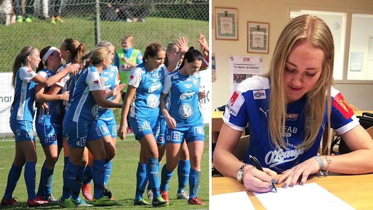 Ida Andersson och IFK Kalmar-spelare.