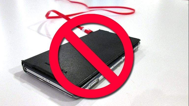 Förbjuden mobiltelefon.