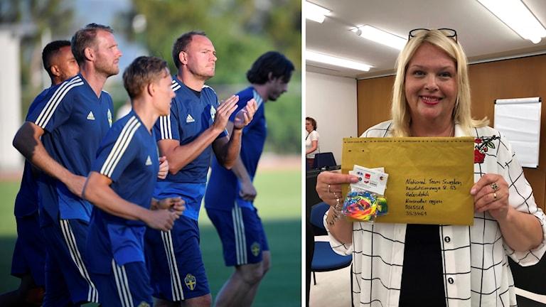Fotbollsspelare och bild på Anna Hedh som håller upp ett kuvert.