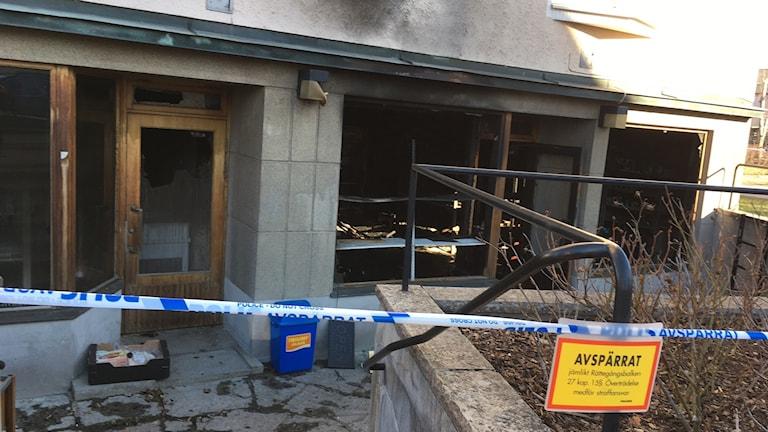 Den utbrända butiken i Mönsterås
