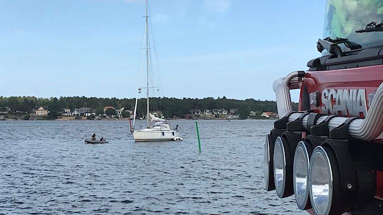 Segelbåten som gått på grund utanför Västervik
