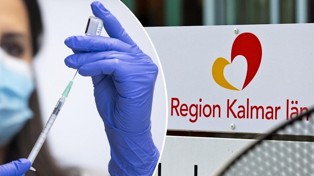 """En person som håller i en spruta och en skylt med texten """"Region Kalmar län."""""""