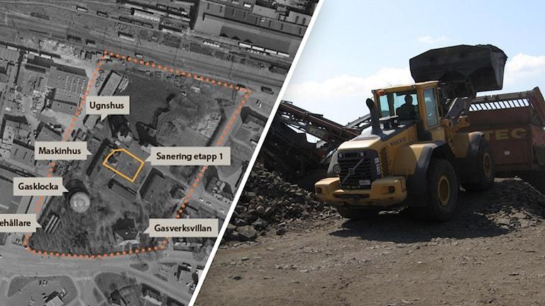 Karta över området som ska saneras. Till höger är en bild på en lastmaskin som jobbar med sanering.