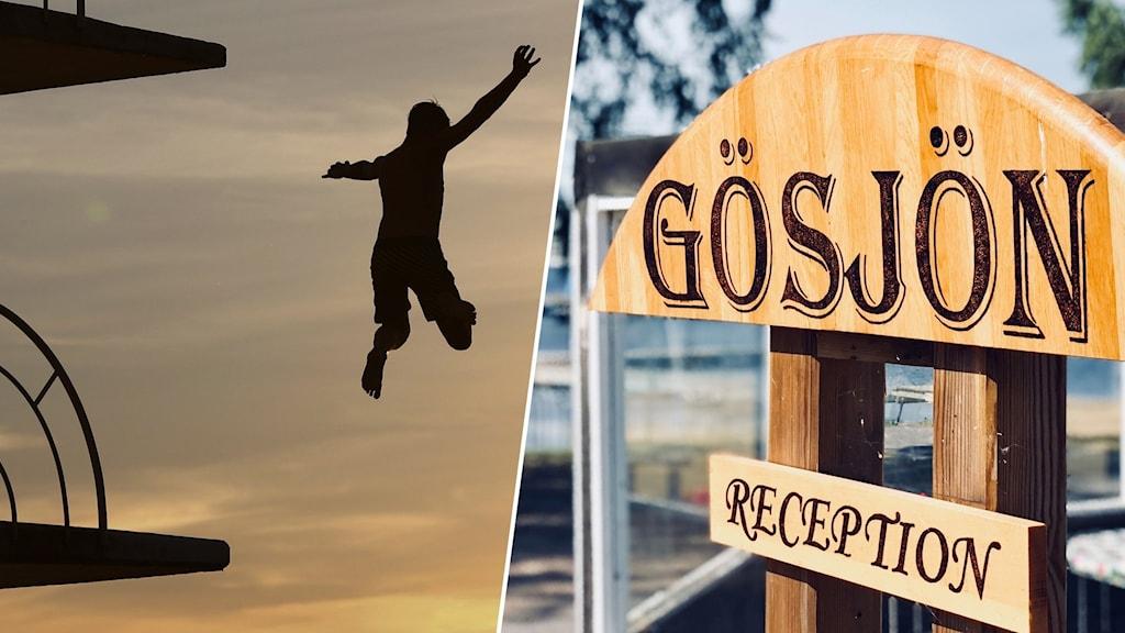"""En person hoppar från ett hopptorn och en skylt med texten """"Gösjön."""""""