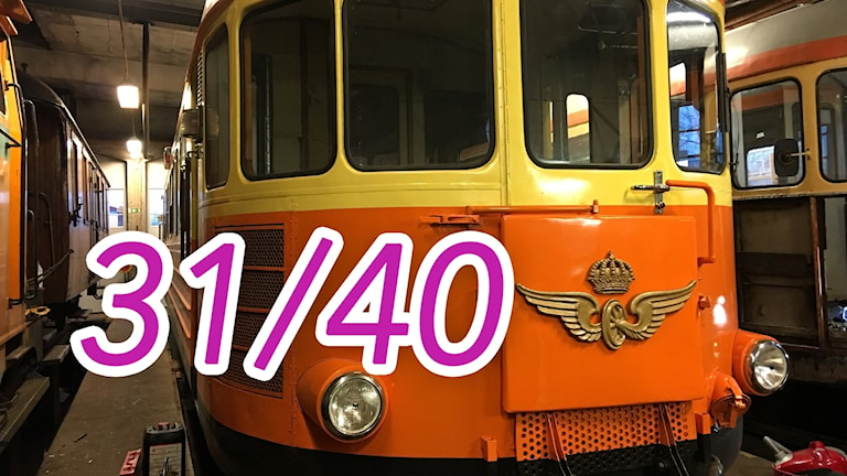 Rälsbuss i lokstallarna i Västervik
