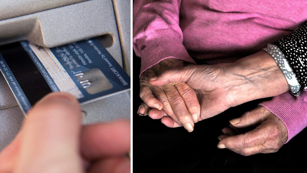 Kontokort och bild på hand tillhörande äldre person.