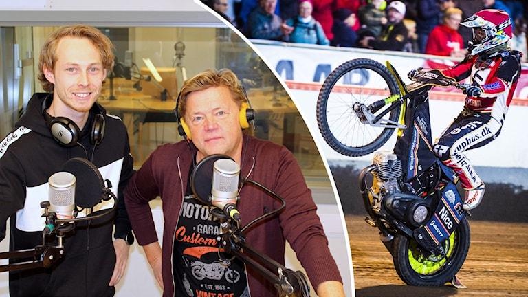 Två män i en radiostudio och en inklippt bild på en speedwayförare.