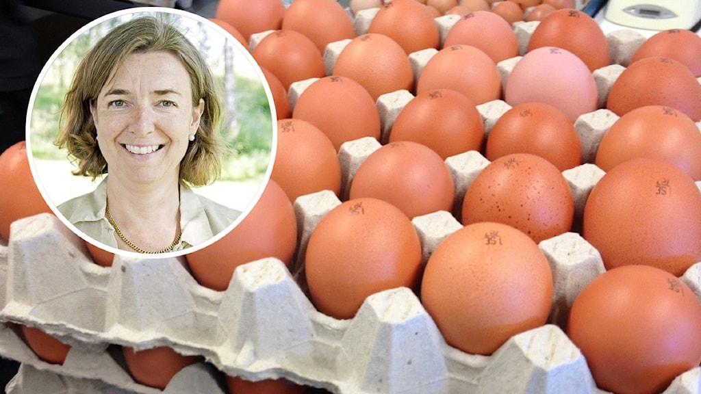 En person och en kartong med ägg.