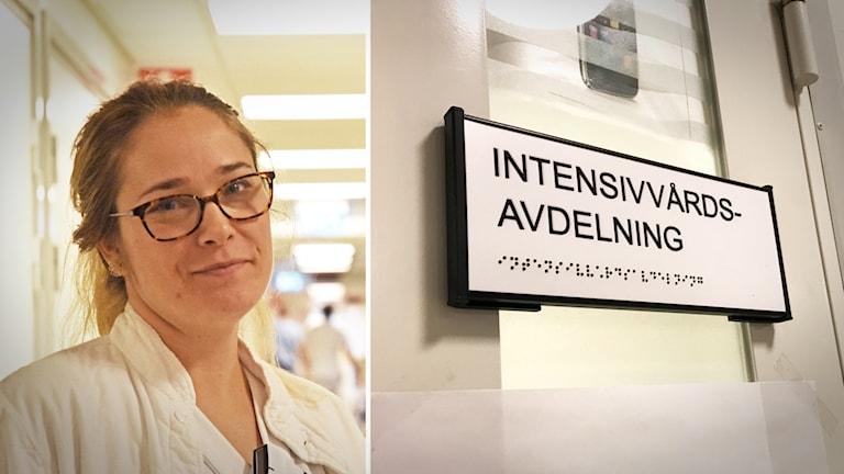 Montage med en sjuksköterska och en skylt på intensivvårdsavdelningen.