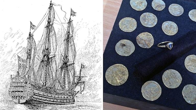 Skiss av Kronan och mynt.