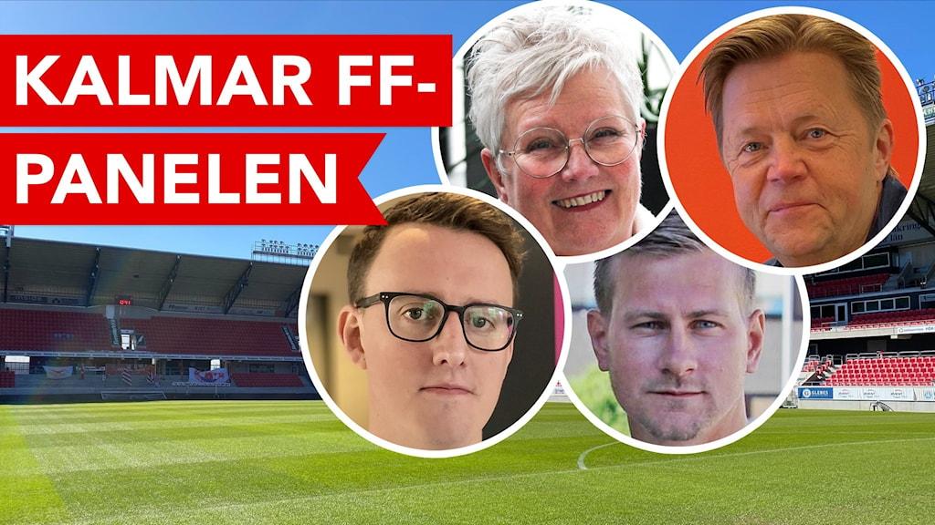 Fotbollsarena med bilder på fyra personers ansikten.
