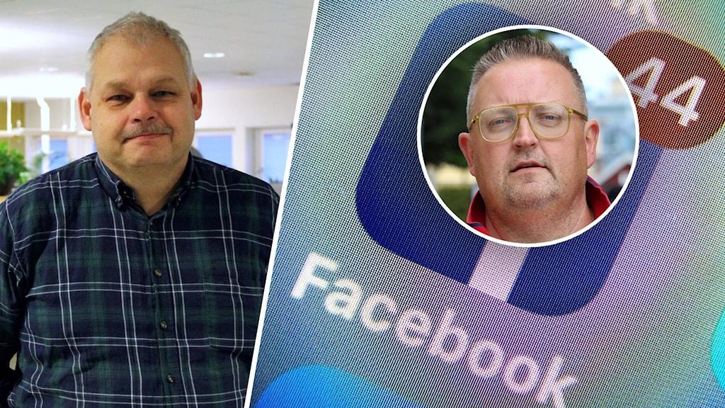 Bildsplit på två män och en Facebooksymbol.