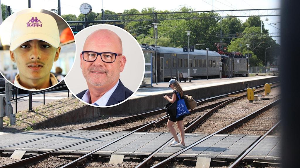Montage med två personer inklippta på en bild från en tågstation.