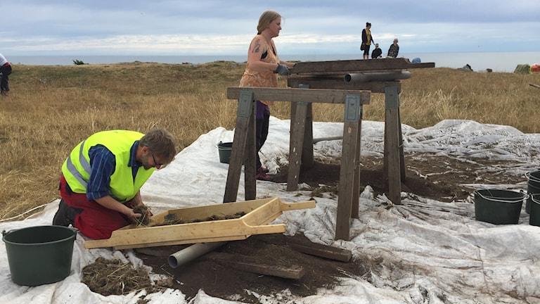 Utgrävning vid Sandby borg på östra Öland 2018.