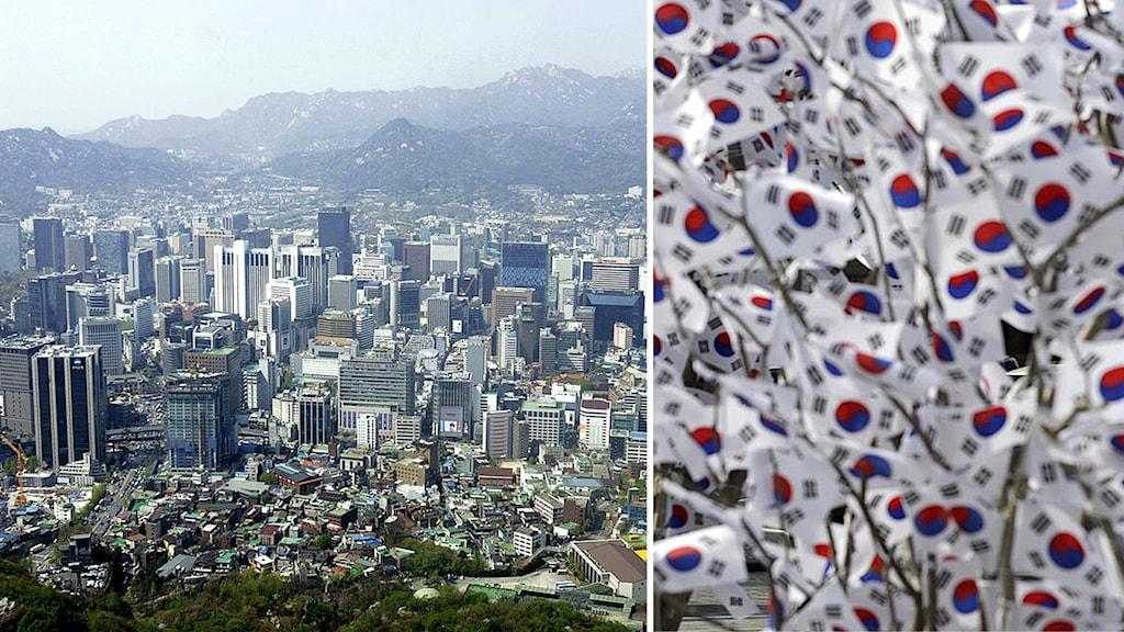 Montage med överblicksbild över Sydkoreas huvudstad Seoul och Sydkoreanska flaggor.