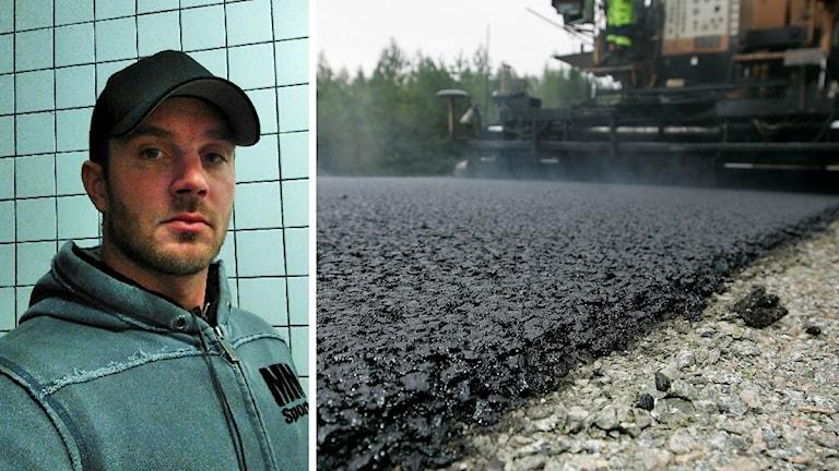 Timmy Edström och asfaltsläggare.