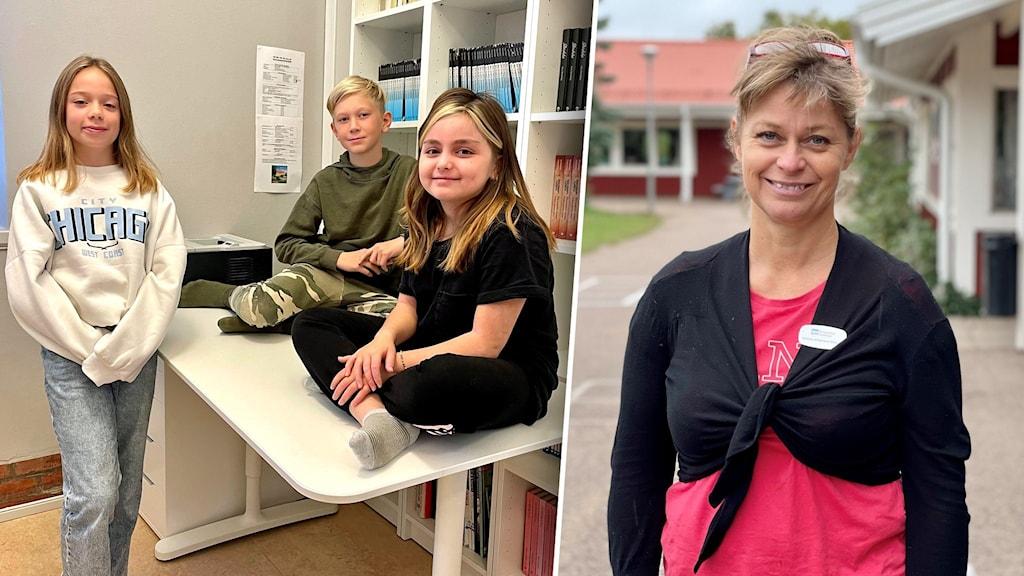 Bildsplit på tre barn som sitter på ett bord och en kvinna som står utomhus.