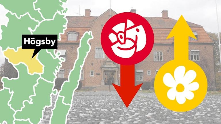 Karta och partiloggor.