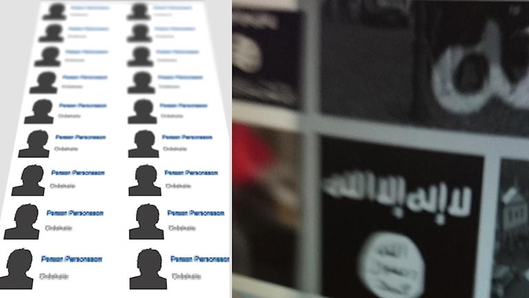 Profilbilder och Isis-symboler.