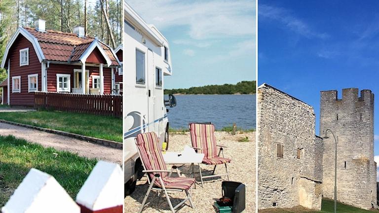 Hus på Astrid Lindgrens värld, ställplats i Västervik och ringmuren på Gotland.