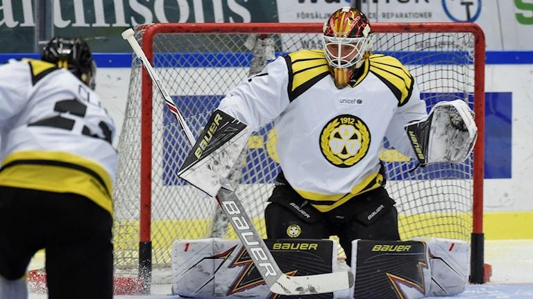 Felix Sandström i målet.