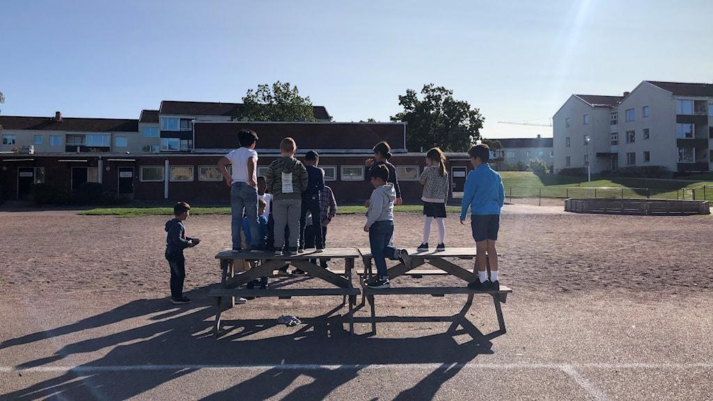 En grupp barn har samlats vid grusplanen på en skolgård.