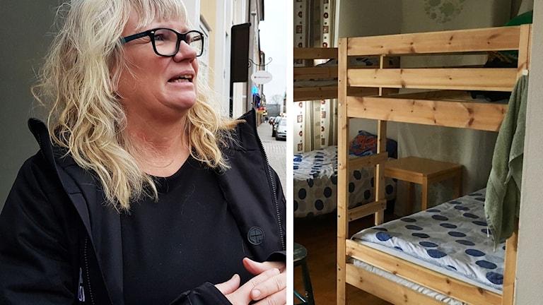 Katarina Borgemo och våningssängar.