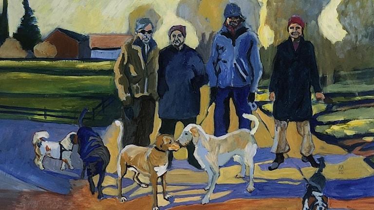 Monika Alskans målning av ett möte mellan fyra hundägare i Sättra. (Bilden är beskuren.)