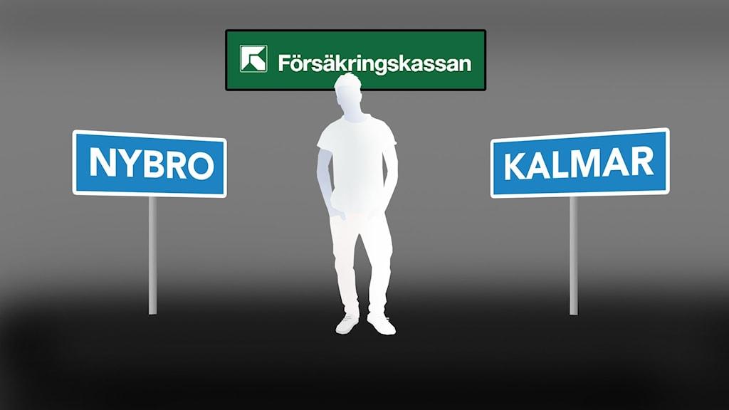 Siluett av person, Nybro- och Kalmar-skyltar.