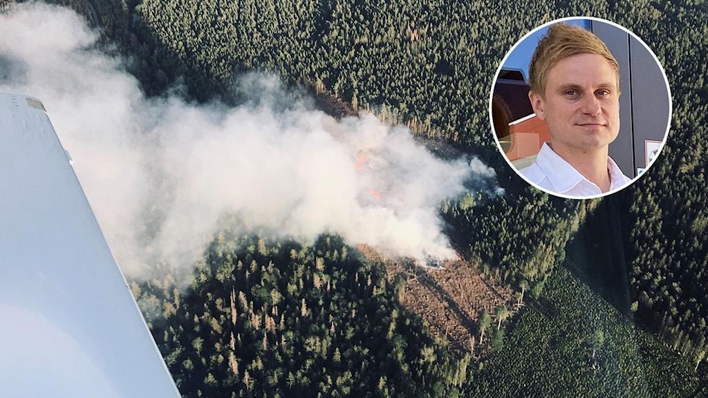 Skogsbrand och en inklippt bild på en person.