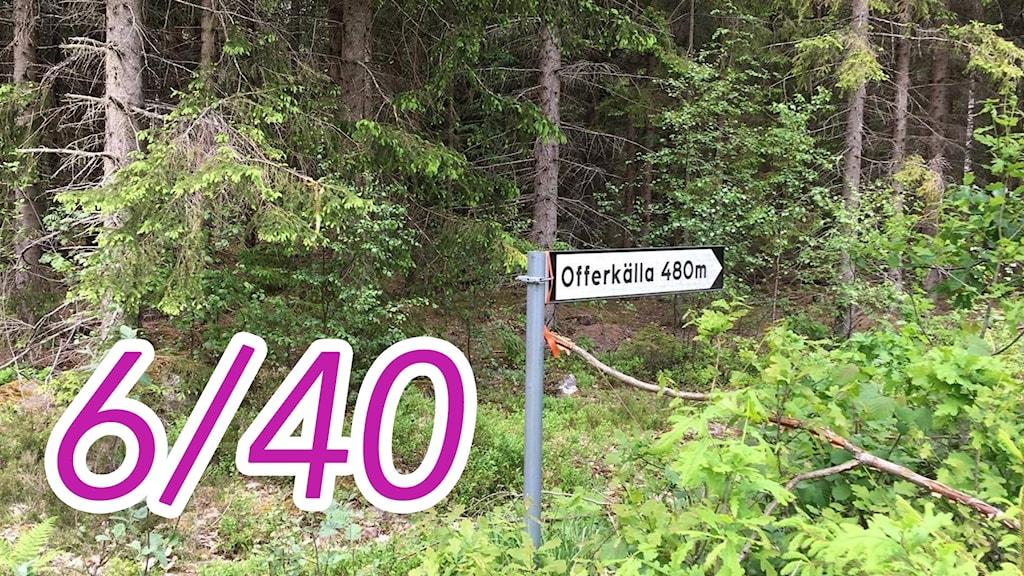 Vägskylt som visar vägen till offerkällan i Västra Hult
