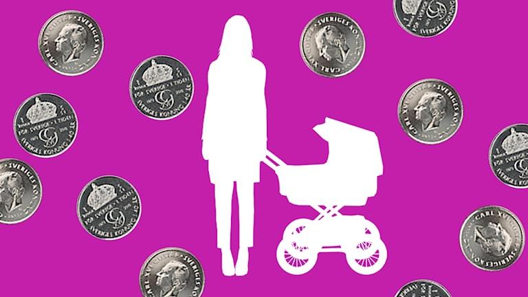 Kvinna med barnvagn och mynt.