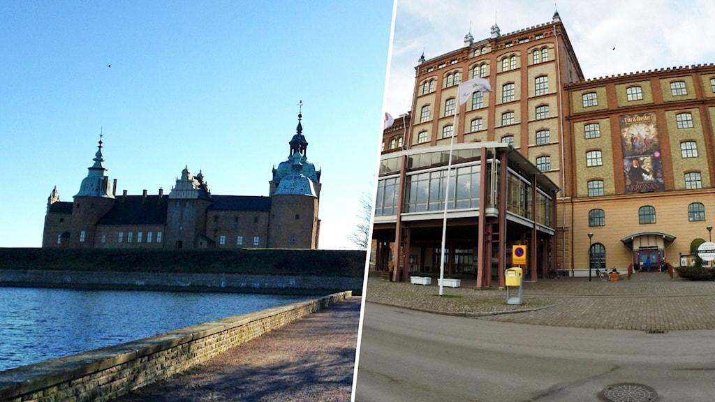 Montage med Kalmar slott och Kalmar läns museum.