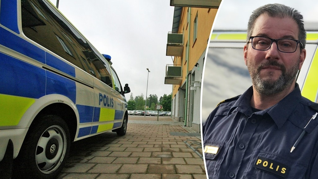 Polisbil parkerad vid polisstationen i Hultfred och bild på polisman.