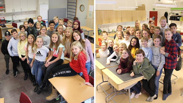 Två femteklasser i klassrum, separata bilder.