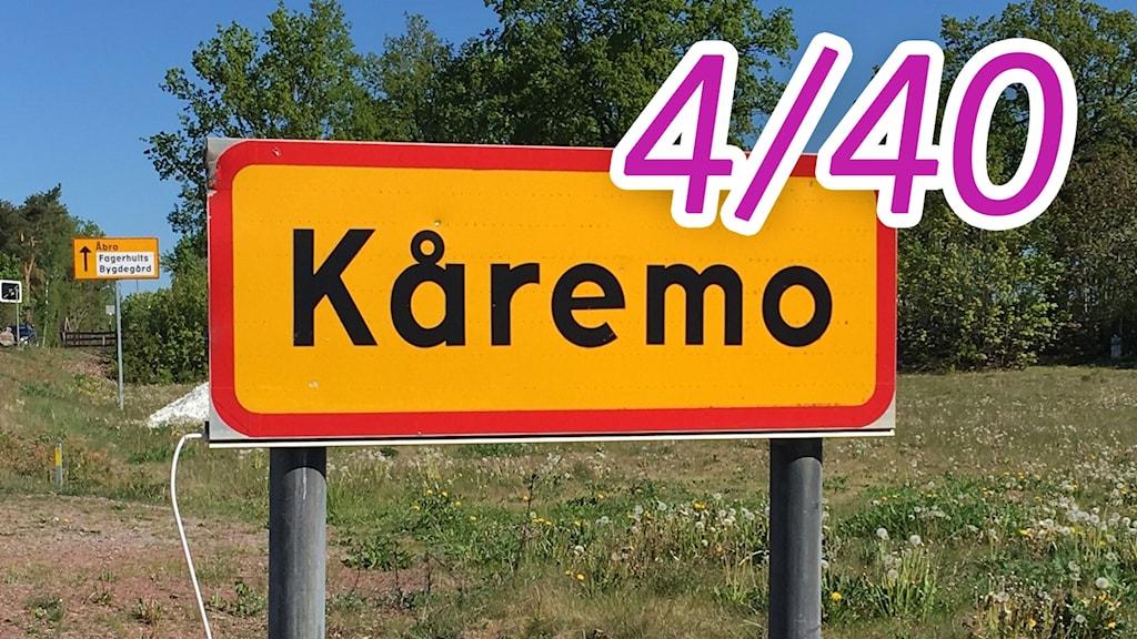 Vägskylt Kåremo, en av P4 Kalmars 40 platser.