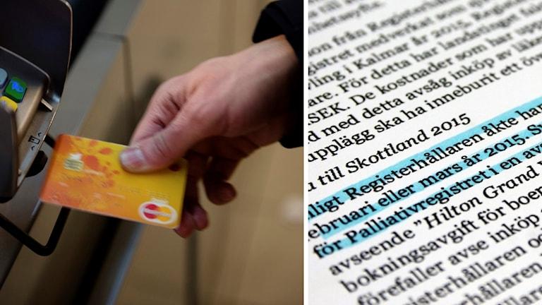 Kontokort och bild på ett dokument.