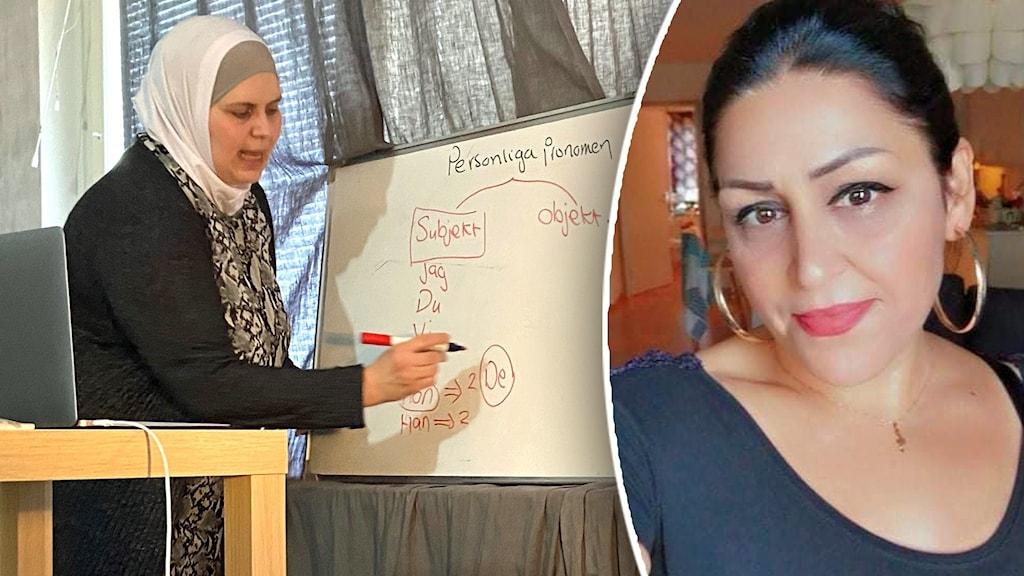 Bildsplit på en kvinna som står och skriver på en tavla och en kvinna som tittar mot kameran.