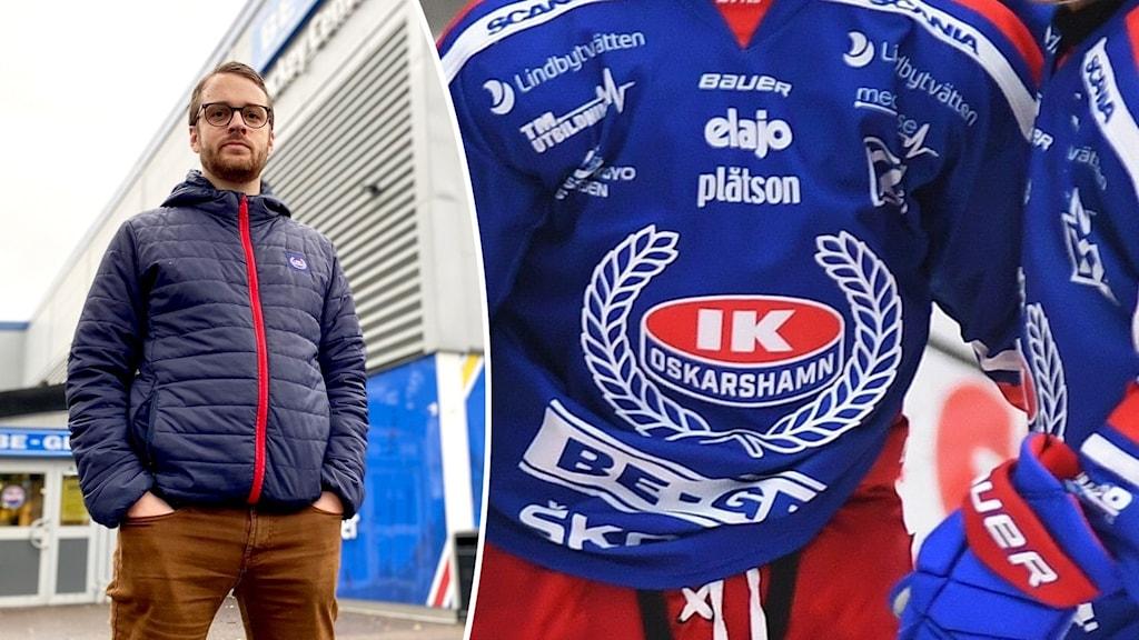 Montage med en hockeyspelare samt en man som står utanför en hockeyarena.