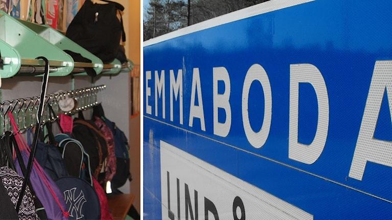 Barnkläder och Emmaboda-skylt.